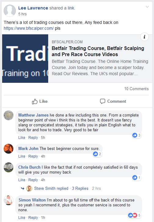 Betfair Comment on Betfair Scalping Course