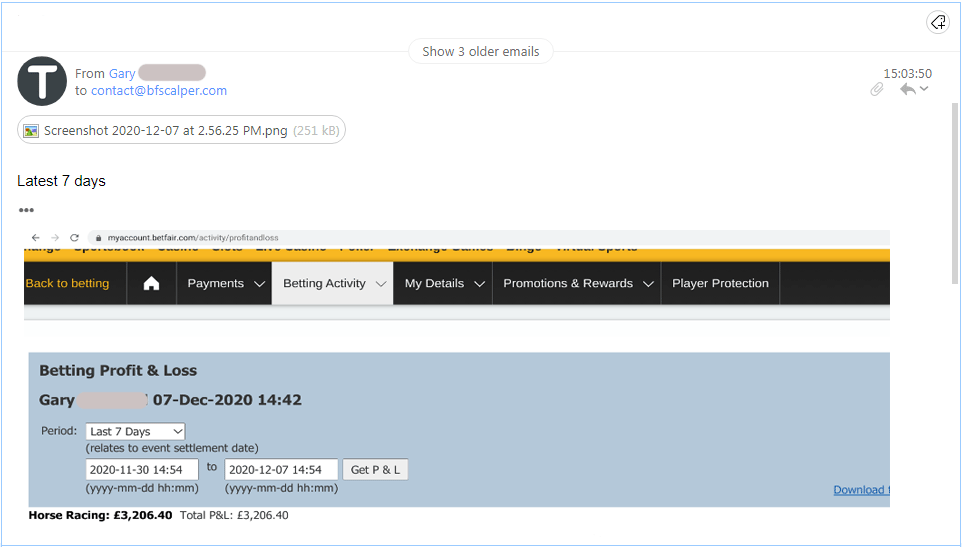 Betfair Exchange Profits Gary